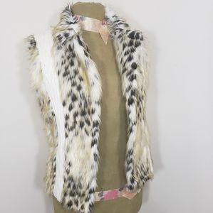 XOXO furry vest animal print and white knit